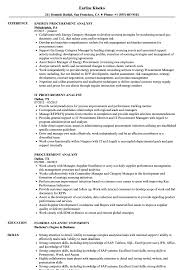 Procurement Analyst Sample Resume Procurement Analyst Resume Samples Velvet Jobs 1