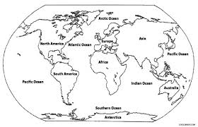 Map Of The World For Kids Coloring Pages