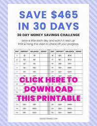 30 Day Money Saving Challenge Save 500 Free Printable