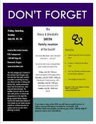 Meeting Announcement Flyer Template Sample Reunion Invitation