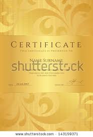 Certificate Completion Template Sample Background Golden Stock ...