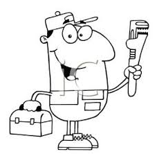 tool box clip art black and white. a black and white cartoon of handyman with pipewrench toolbox - royalty free clipart picture tool box clip art