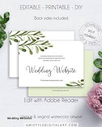 greenery wedding website details card invitation watercolour