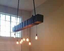 rustic wood beam chandelier with edison blub lights chandelier barn board