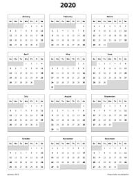 Printable Annual 2020 Calendar Yearly Calendar 2020 Free