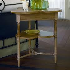 paula deen down home lemonade stand oatmeal wood end table cloverleaf shape made of poplar veneers and select hardwoods 2 display shelves 485