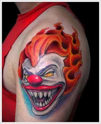 Color Clown Tattoo On Left Shoulder Bad Boy Ink Evil Clown