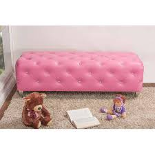 stella crystal tufted pink leather modern bench  walmartcom