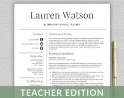 Resume Template Teacher Simple Teaching Resume Etsy