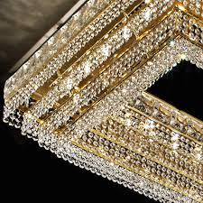 large gold rectangular clear crystal chandelier