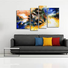 outfit yhhp hand painted oil painting abstract 4 piece set wall art with stretched framed on wall art 4 piece set with blue black yellow army green yhhp hand painted oil painting