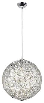 lumenno stella laser cut metal and crystal globe pendant light