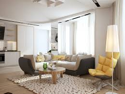 yellow swivel chair plus awesome living room rug design also stylish round coffee table and small sectional sofa idea