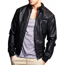men s er casual snap tab collar black leather jacket