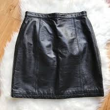 details about wilsons leather maxima black genuine leather straight skirt zip vintage medium