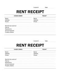 printable rent receipt template printable rent receipt free receipt template by hloom com rental