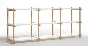 woody shelving system can be assembled at various heights