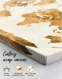 large gold world map canvas wall art