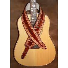 guitar strap 3 wide adjustable length memphis style custom leather strap hand tooled dark brown