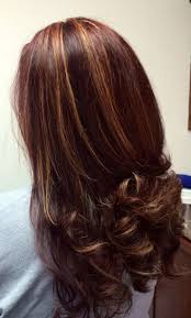 Dark Hair Colors With Red And Blonde Highlights