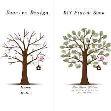 Amazoncom Customizable Fingerprint Tree Guestbook For A Wedding Fingerprint Baby Shower Tree