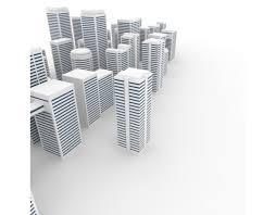 オフィスビル 都市 ビジネス街 風景 都会 白バック 3dcg