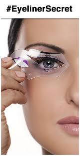 using an eyeliner stencil to create winged liner or cat eye makeup great cat eyes