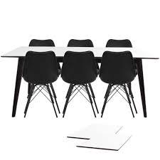 Essgruppe Esstisch Ausziehbar Weiß 195285 Und 6 Stühlen Schwarz