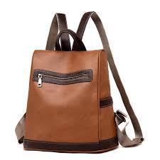 leather school bag teenage travel camping backpack waterproof shoulder bag handbag brown cod