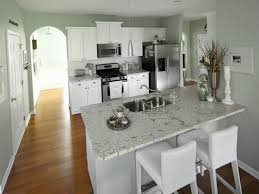 Neutral Granite Countertop Colors For Narrow Kitchen Layout Yellow