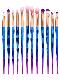 blue makeup brush set. 12pcs diamond shape ombre handle eye makeup brushes set - blue blue brush s