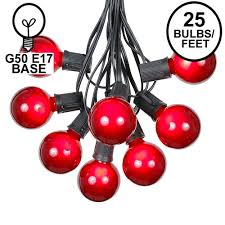 Red Globe String Lights 25 G50 Globe Light String Set With Red Bulbs On Black Wire