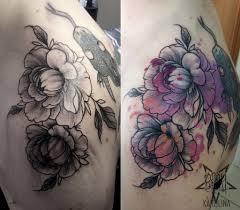 пионы в графике с акварелью татуировка на плече сделать тату у