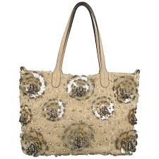 valentino muted pink leather beaded rhinestone payette flower tote bag for at 1stdibs