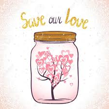 Watercolor Love Tree With Leaves As Hearts In Glass Jar Love