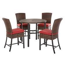 brown steel outdoor patio dining set