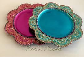 charger plates decorative: beautiful handmade charger plate henna plate pooja thali perfect for wedding center piece any occasion decorative plate