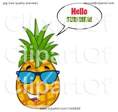 pineapple with sunglasses clipart. clipart of a pineapple mascot wearing sunglasses and saying hello summer - royalty free vector illustration by hit toon with