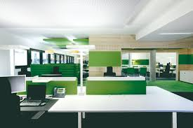 cool design ideas of home interior office with rectangle shape simple white green colors desk and awesome unique green office design