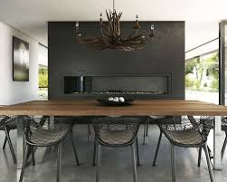 Large Minimalist Concrete Floor Dining Room Photo In Melbourne With A  Plaster Fireplace And Black Walls