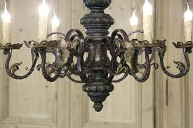 wood and iron chandeliers wrought iron chandeliers antique carved wood wrought iron baroque chandelier wrought iron