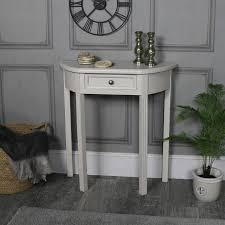 half moon console table with drawer storage daventry grey range