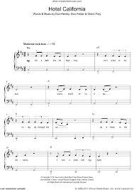 Download and print hotel california sheet music for guitar lead sheet by eagles from sheet music direct. Eagles Hotel California Sheet Music For Piano Solo Beginners