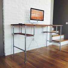 steel pipe furniture. furniture astounding art deco computer desk design stainless steel pipe table with brown wooden top and shelves on lacquer hardwood floor a