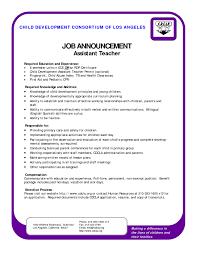 Fascinating Resume Samples Teacher Assistant In Cover Letter
