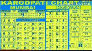 Kalyan Patrika Chart 18 7 2018 Kalyan Weekly Chart Open To Close Daily Line Chart