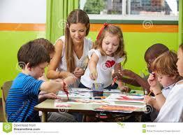Nursery Teacher Children Painting With Nursery Stock Image Image Of Learn Little