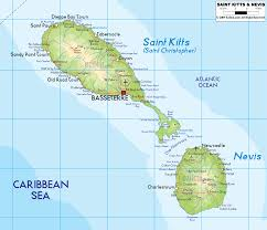 physical map of saint kitts and nevis  ezilon maps