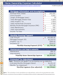 Monthly Payment Sheet Home Ownership Expense Calculator What Can You Afford