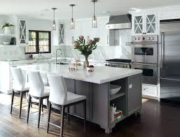 c shape kitchen island gray footed center with white leather counter stools kidney bean shaped modern white leather counter stools